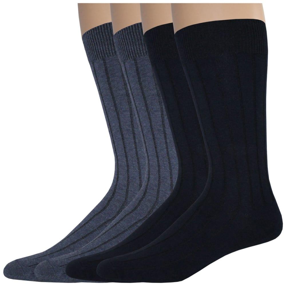 DOCKERS Men's Wide Rib Crew Socks, 4 Pack - NAVY 400