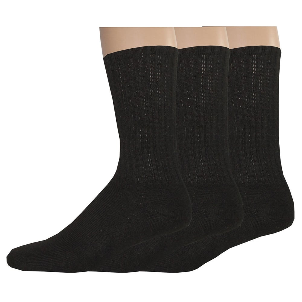 DOCKERS Men's Enhanced Casual Crew Socks, 3 Pack - BLACK