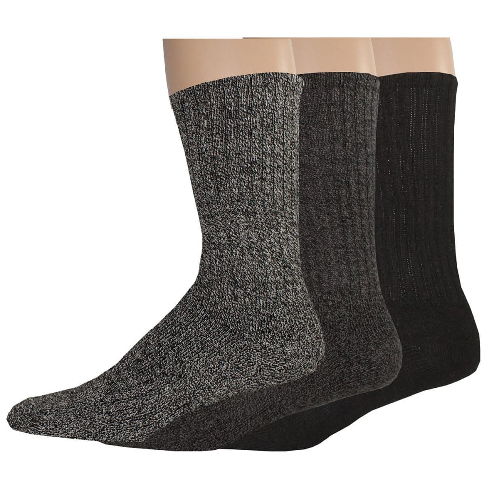 DOCKERS Men's Enhanced Casual Crew Socks, 3 Pack - CHAR ASST