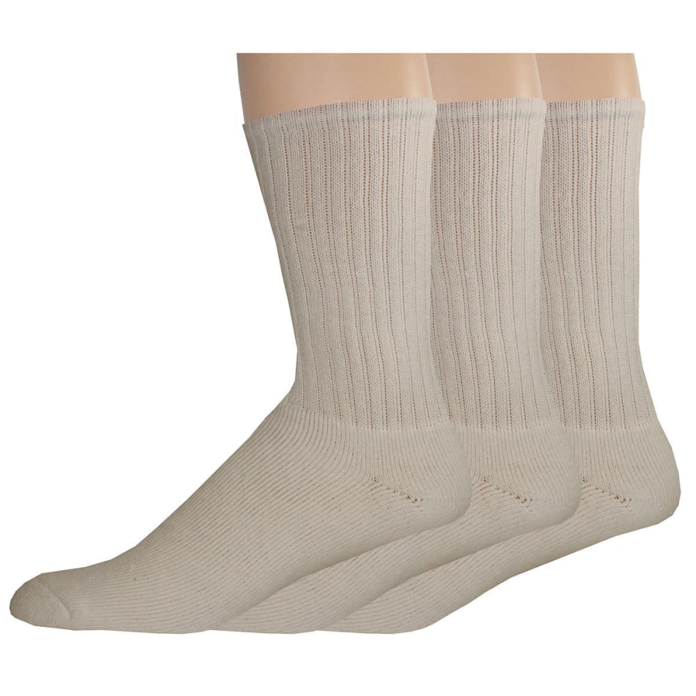DOCKERS Men's Enhanced Casual Crew Socks, 3 Pack - WHITE