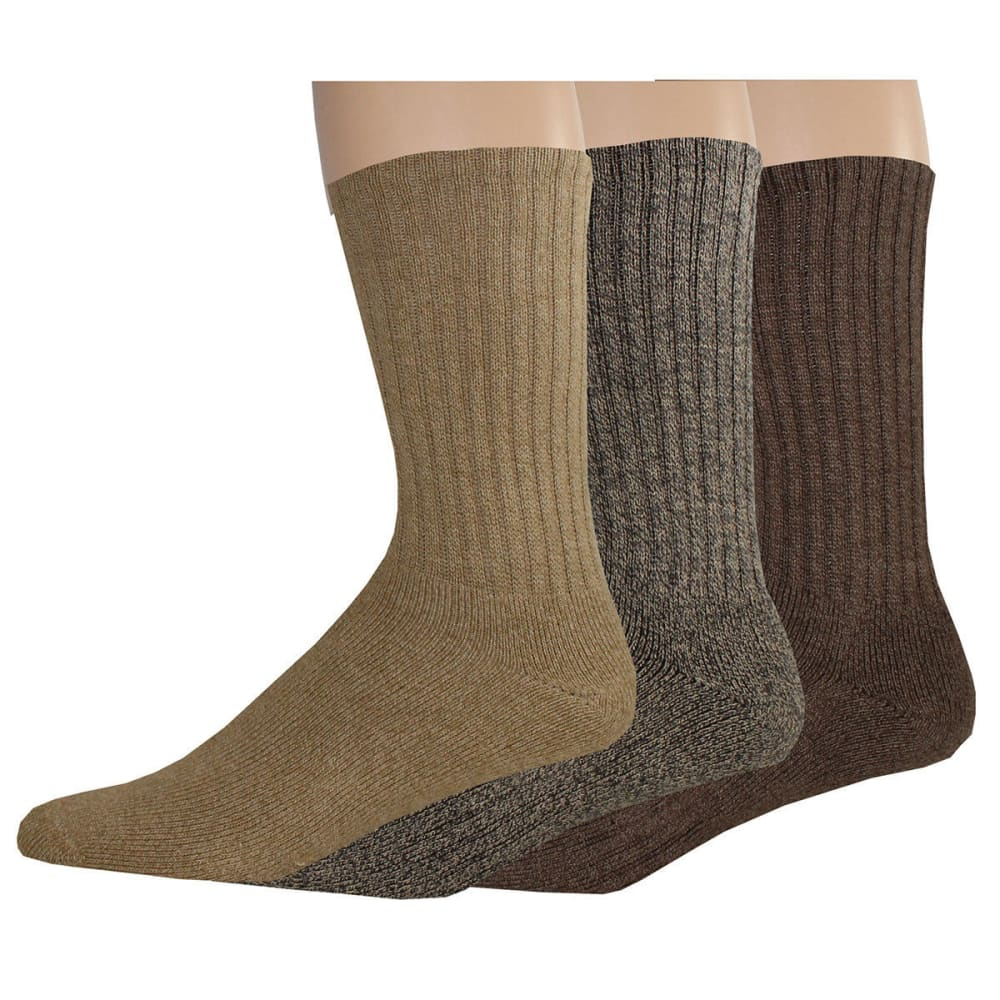 DOCKERS Men's Enhanced Casual Crew Socks, 3 Pack - KHAKI