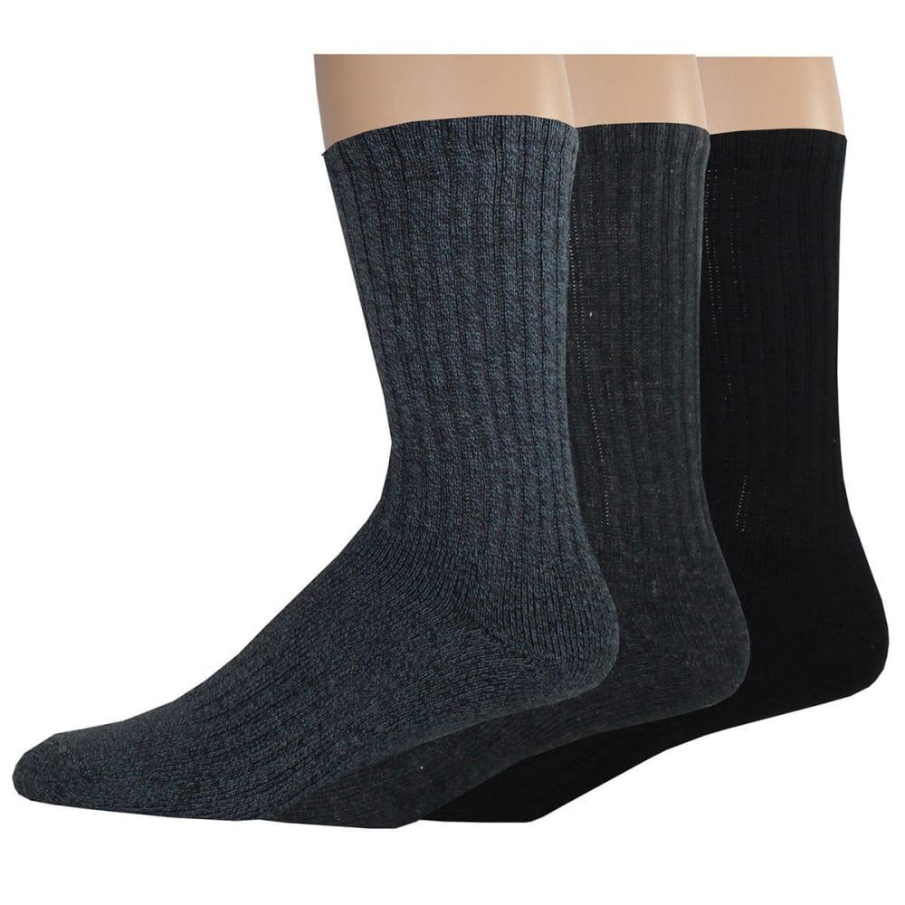 DOCKERS Men's Enhanced Casual Crew Socks, 3 Pack - NAVY AST
