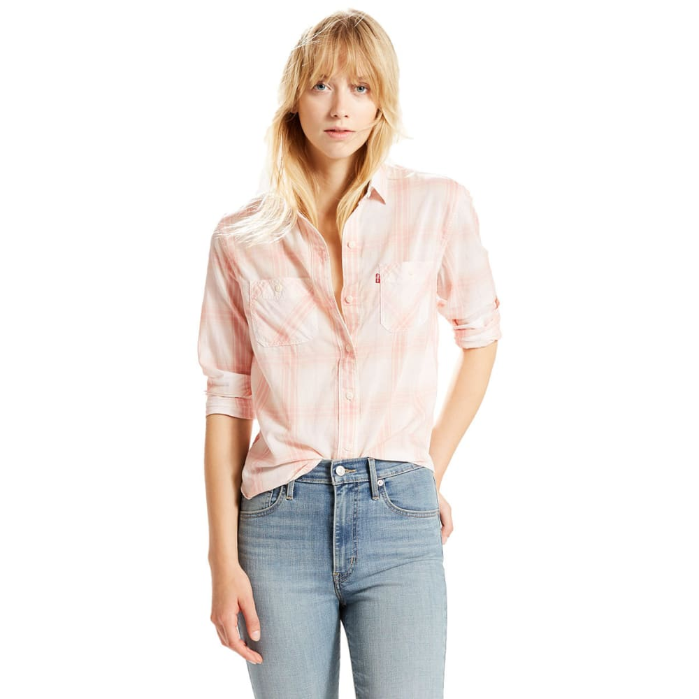 LEVI'S Women's Workwear Boyfriend Plaid Shirt - 0013-MELLOW ROSE