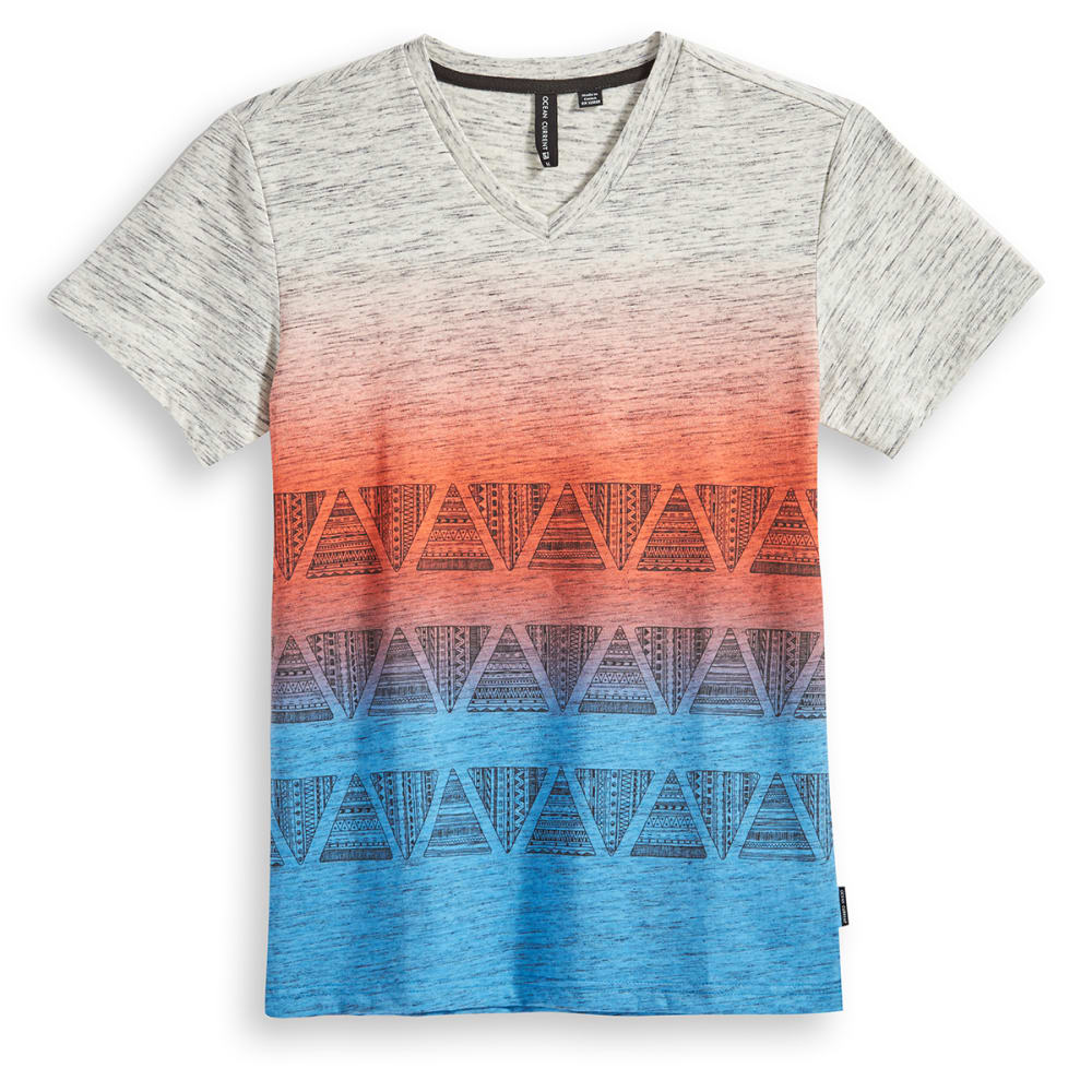 OCEAN CURRENT Boys' Sunrise Ombre Aztec V-Neck Tee - NEW RED