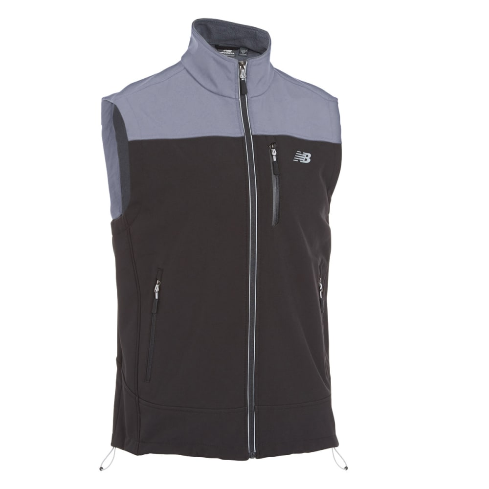 NEW BALANCE Men's Soft Shell Vest - BLACK/LIGHT GREY