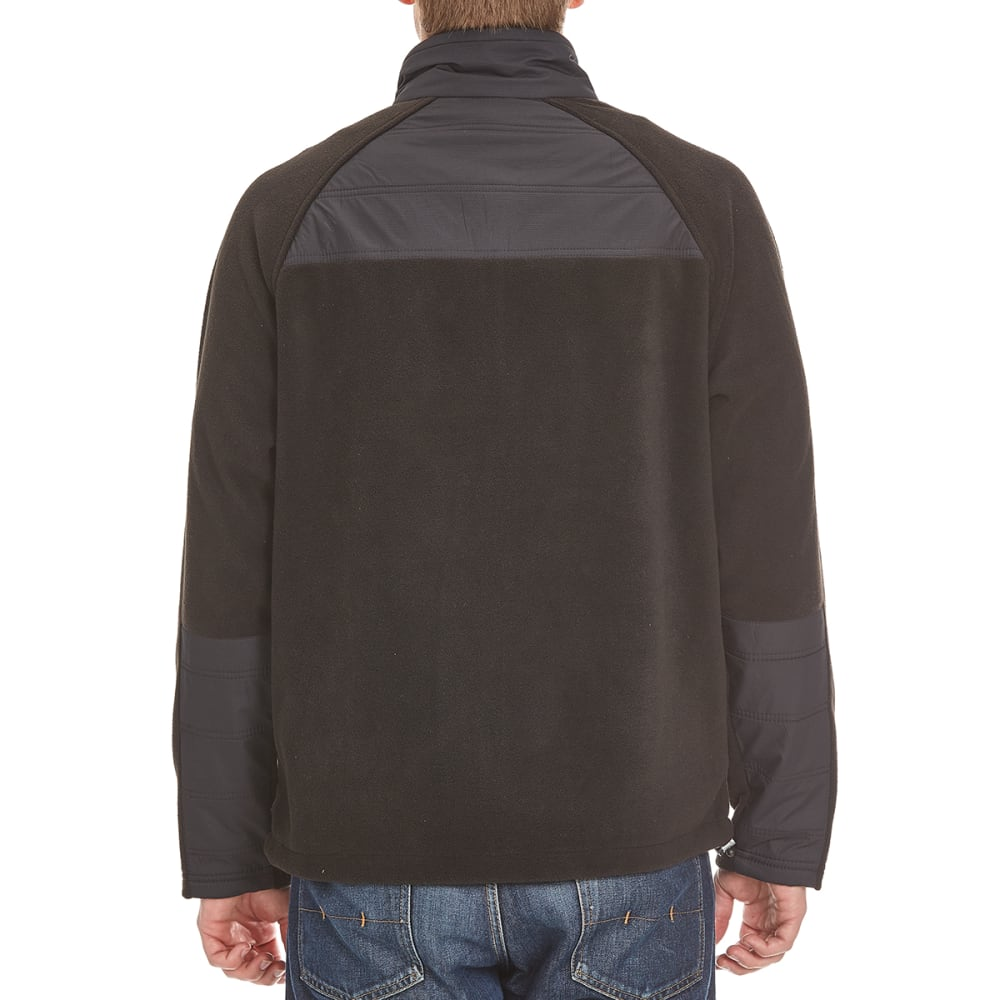 NEW BALANCE Men's Fleece Overlay Dobby Jacket - BLACK/BLACK