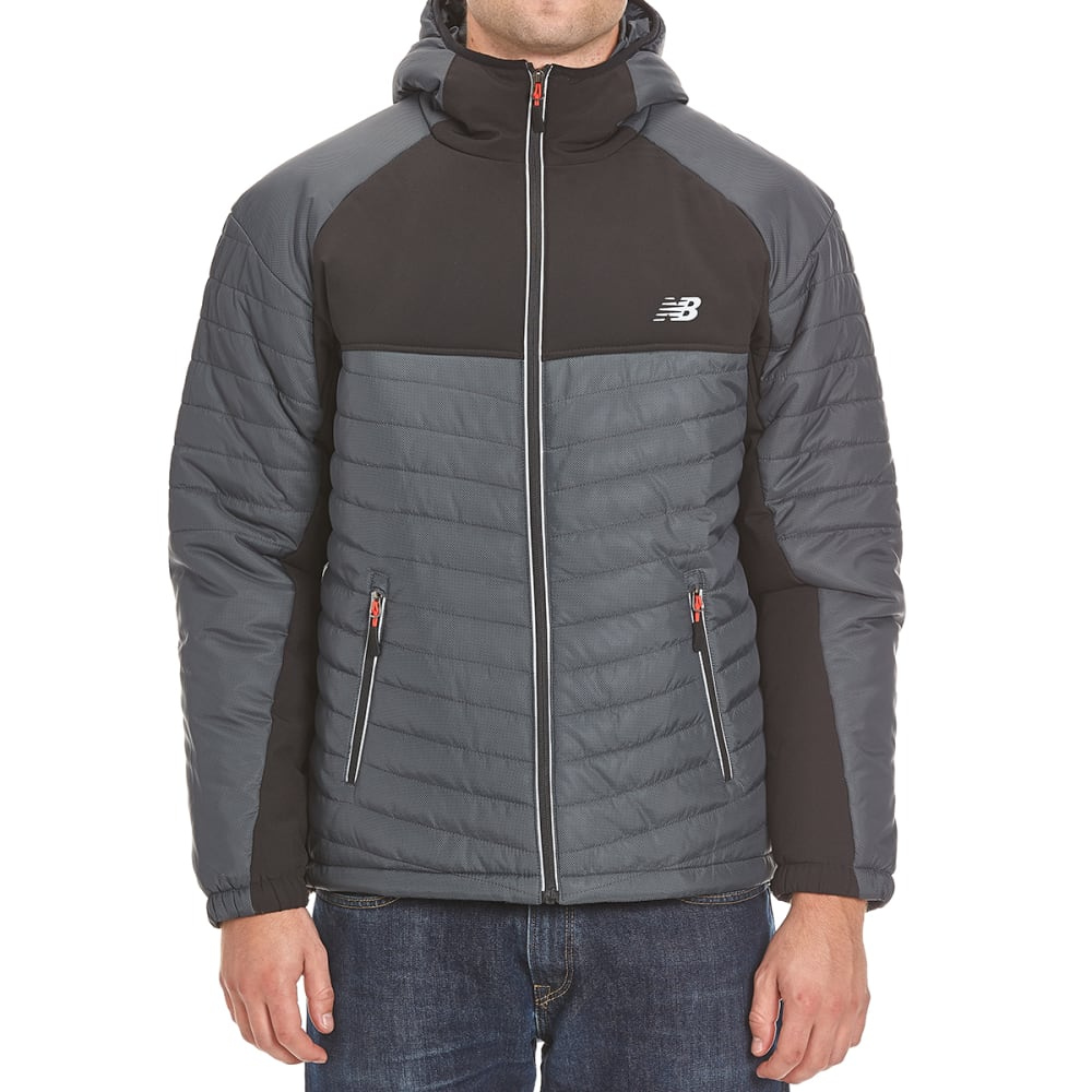 NEW BALANCE Men's Hooded Puffer Jacket - DIAMOND PRINT BLACK