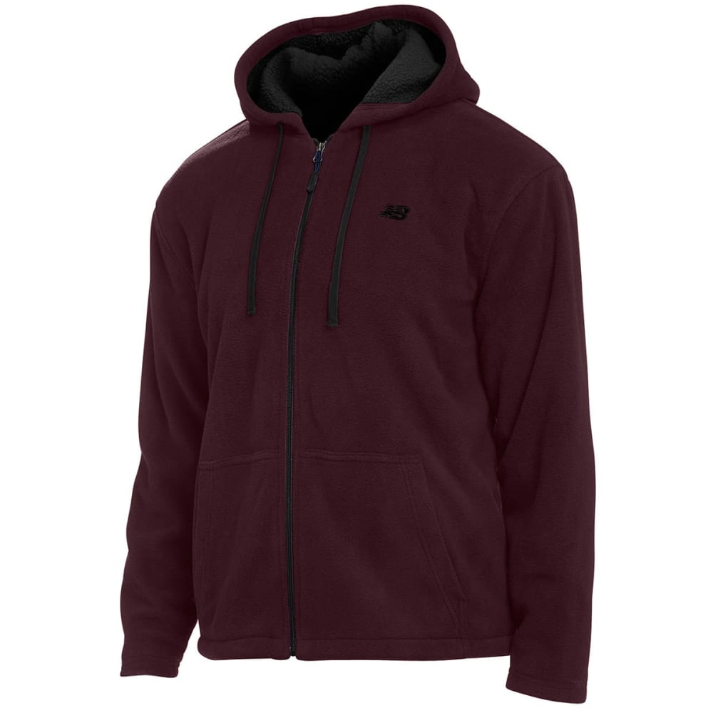 NEW BALANCE Men's Sherpa Hoodie - BURGUNDY