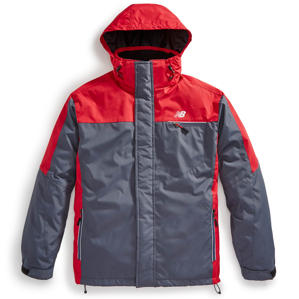 NEW BALANCE Men's Laminated Poly 3-1 Systems Jacket - THUNDER/CRIMSON