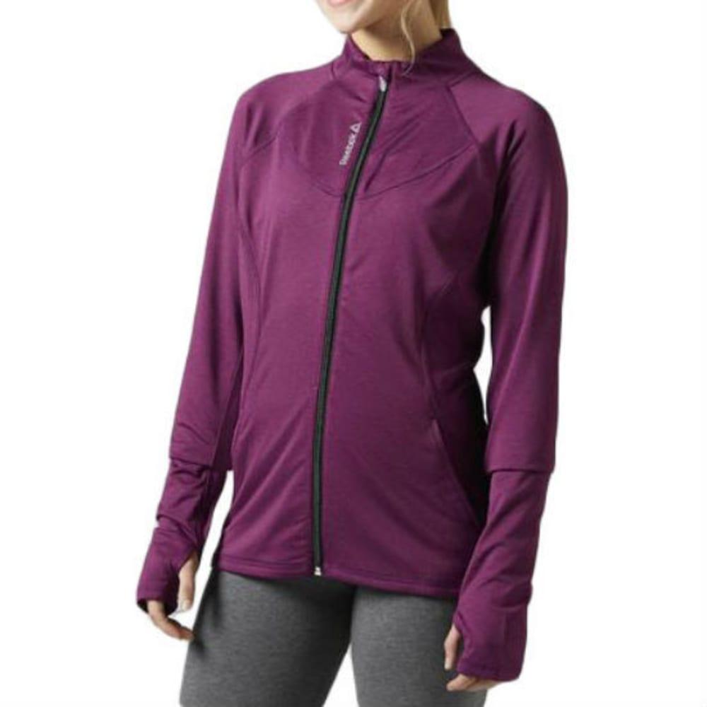REEBOK Women's Brushed Back Full-Zip Track Jacket - DK PURPLE H - BH4707