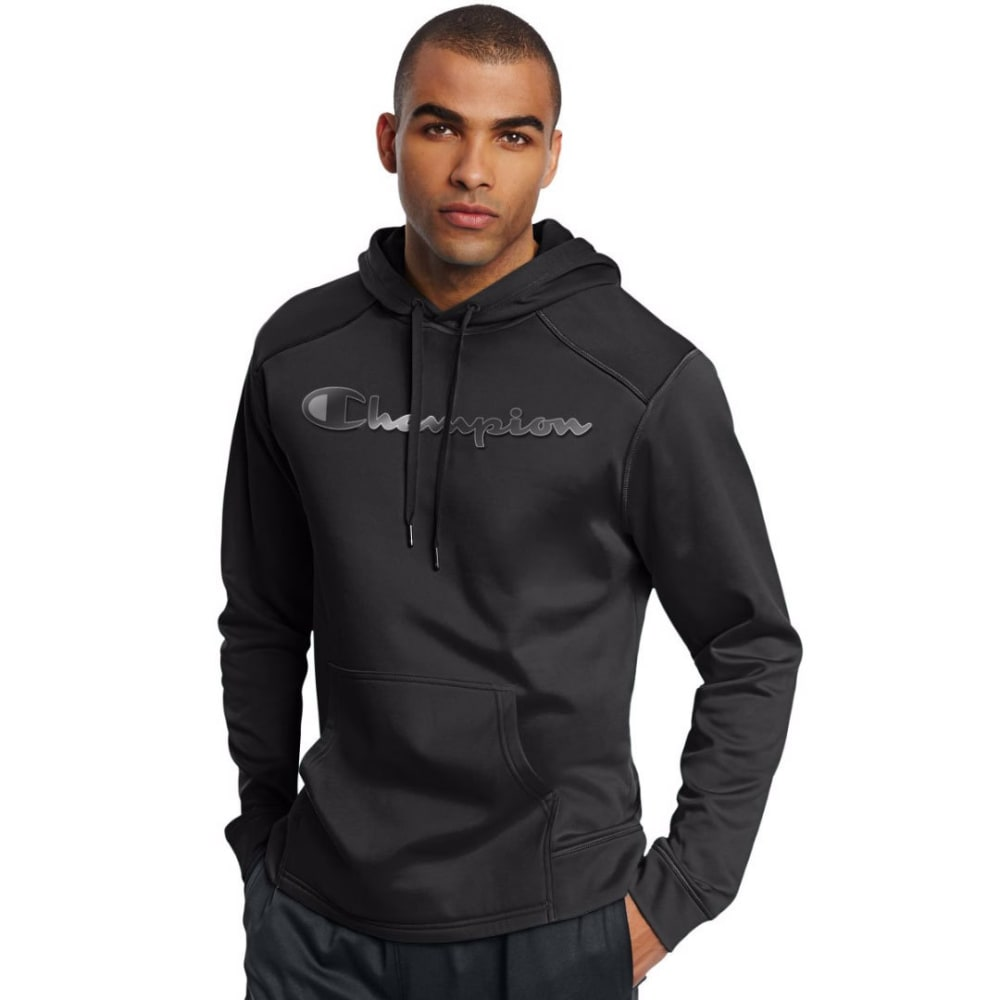 CHAMPION Men's Tech Fleece Printed Pullover Hoodie - BLACK-003