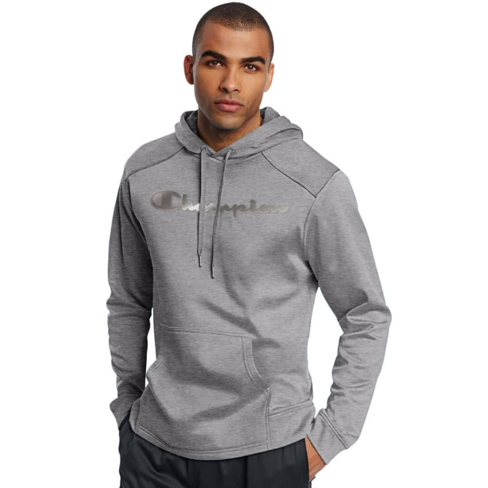 CHAMPION Men's Tech Fleece Printed Pullover Hoodie - OXFORD GREY-806