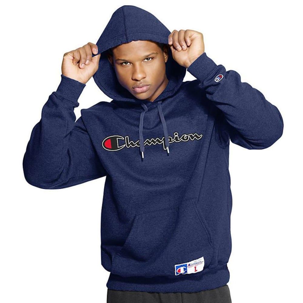 CHAMPION Men's Retro Graphic Pullover Hoodie - NAVY HEATHER-4QC