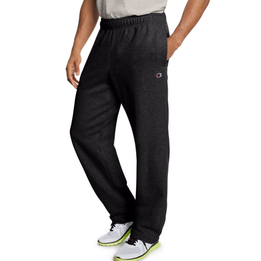 CHAMPION Men's Powerblend Fleece Open Bottom Pants - BLACK-003