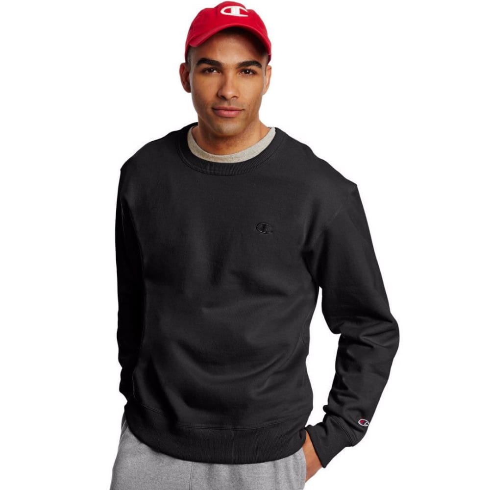 CHAMPION Men's Powerblend Fleece Crewneck Pullover - BLACK-003