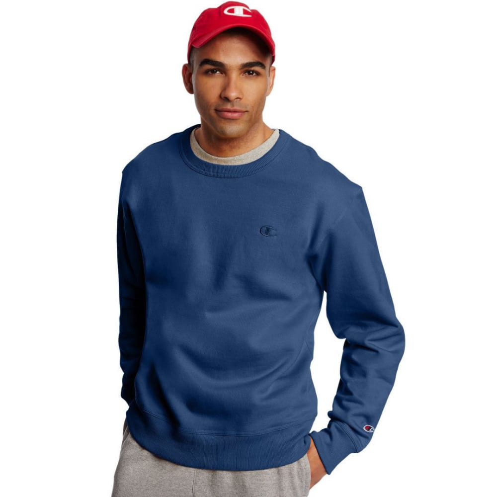 CHAMPION Men's Powerblend Fleece Crewneck Pullover - SEABOTTOM BLUE-04V