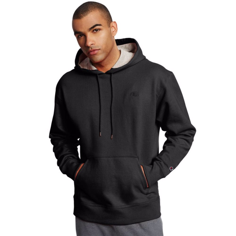 CHAMPION Men's Powerblend Fleece Crewneck Pullover Hoodie - BLACK-003