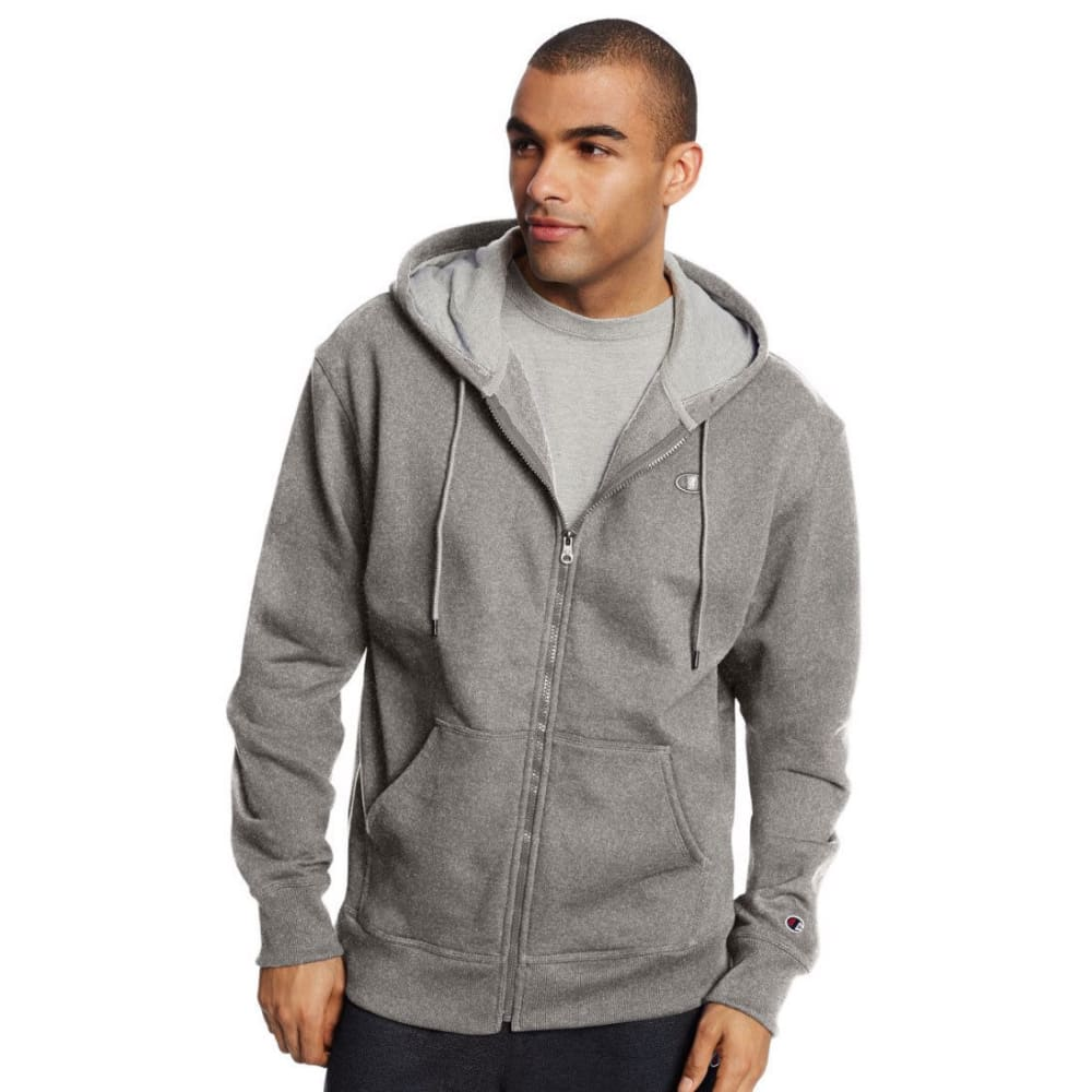 CHAMPION Men's Powerblend Fleece Full-Zip Hoodie - OXFORD GREY-806