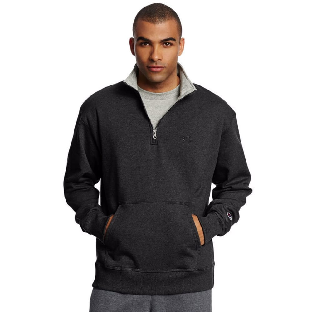 CHAMPION Men's Powerblend Fleece 1/4 Zip Pullover - BLACK-003
