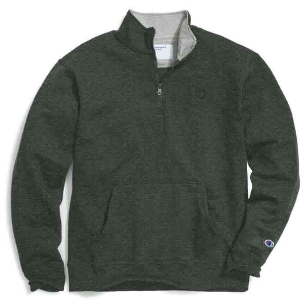 CHAMPION Men's Powerblend Fleece 1/4 Zip Pullover - FOREST GROVE HTR-8A3