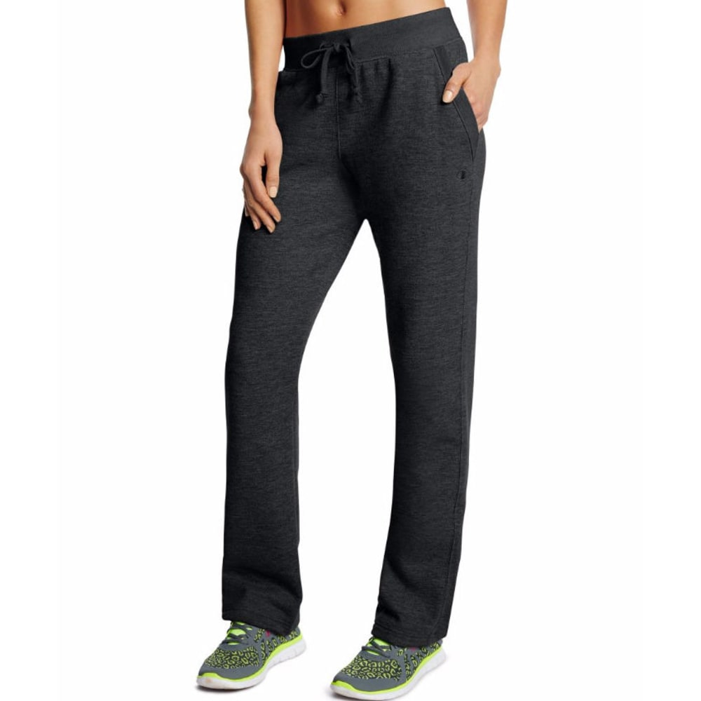 CHAMPION Women's Fleece Open Bottom Pants - BLACK -001