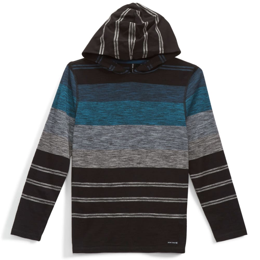 OCEAN CURRENT Boys' Striped Jersey Popover Hoody - BLACK