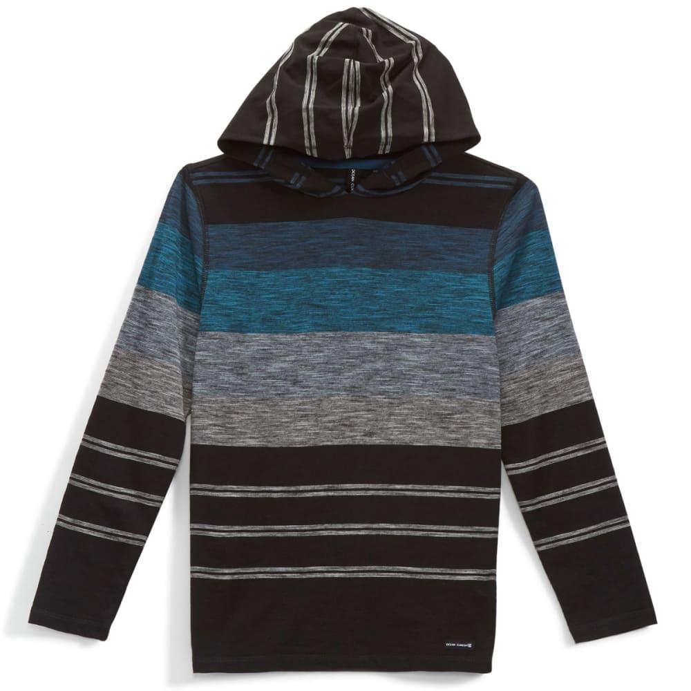 OCEAN CURRENT Boys' Striped Jersey Popover Hoody - BLACK