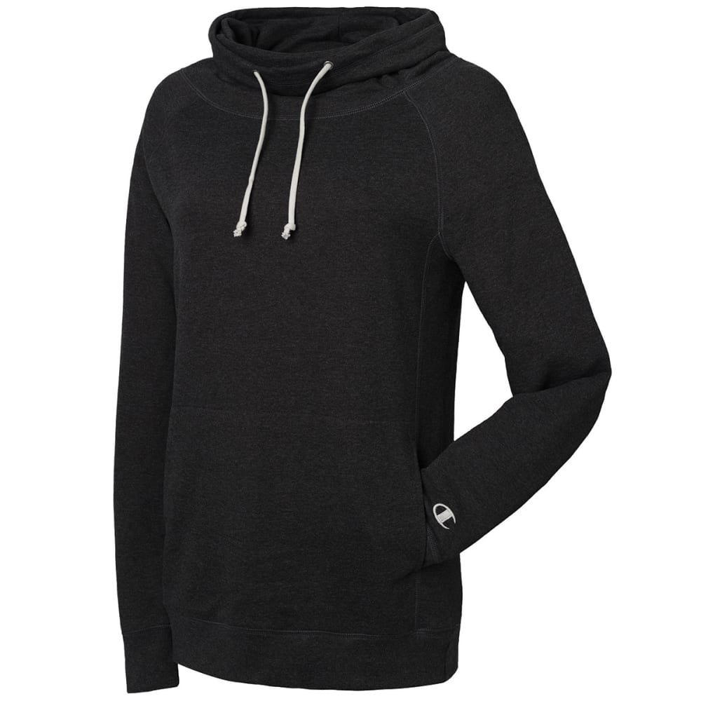 CHAMPION Women's French Terry Heather Funnel Neck Top - BLACK 001