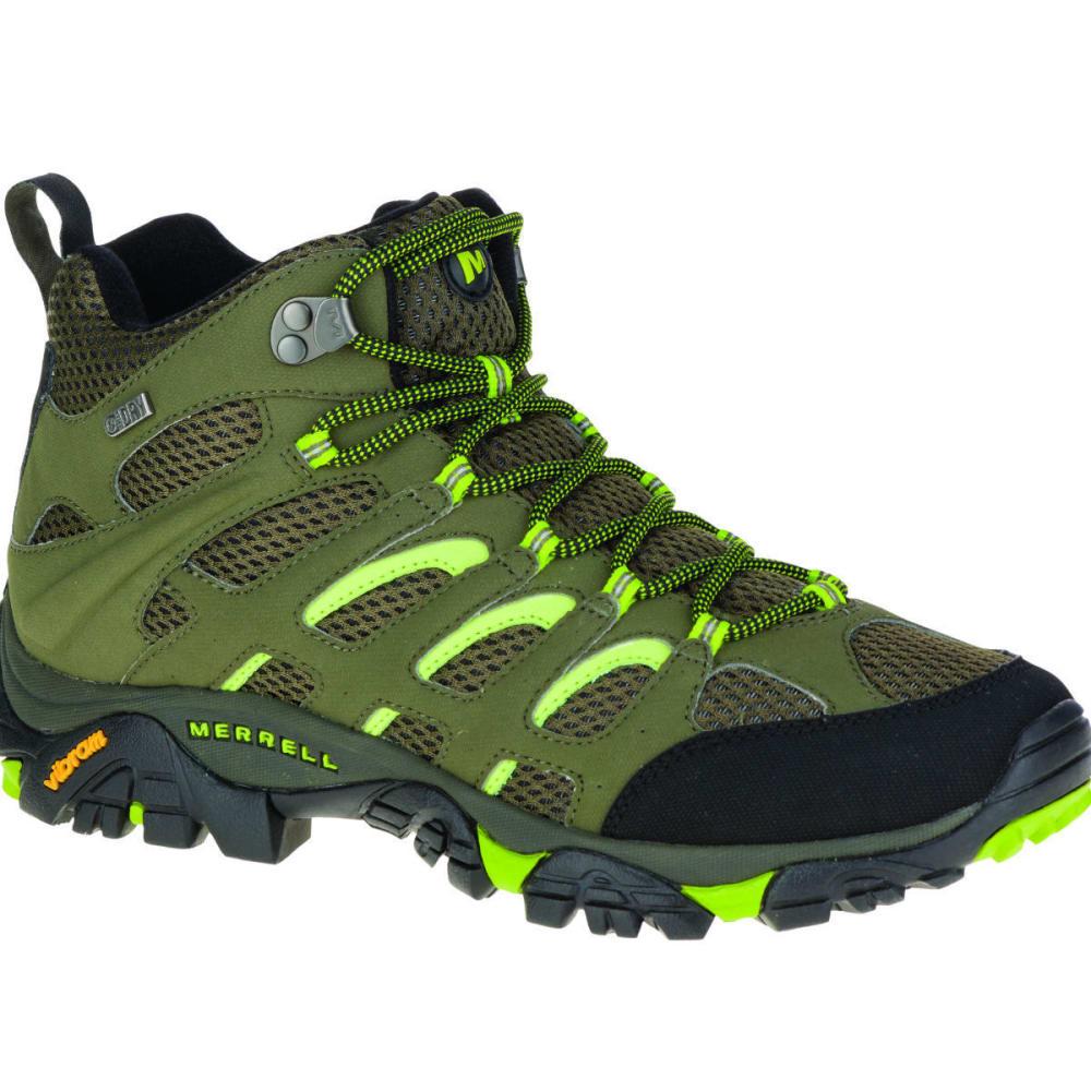 MERRELL Men's Moab Mid Waterproof Hiking Shoe, Dusty Olive/Black - DUSTY OLIVE/BLACK