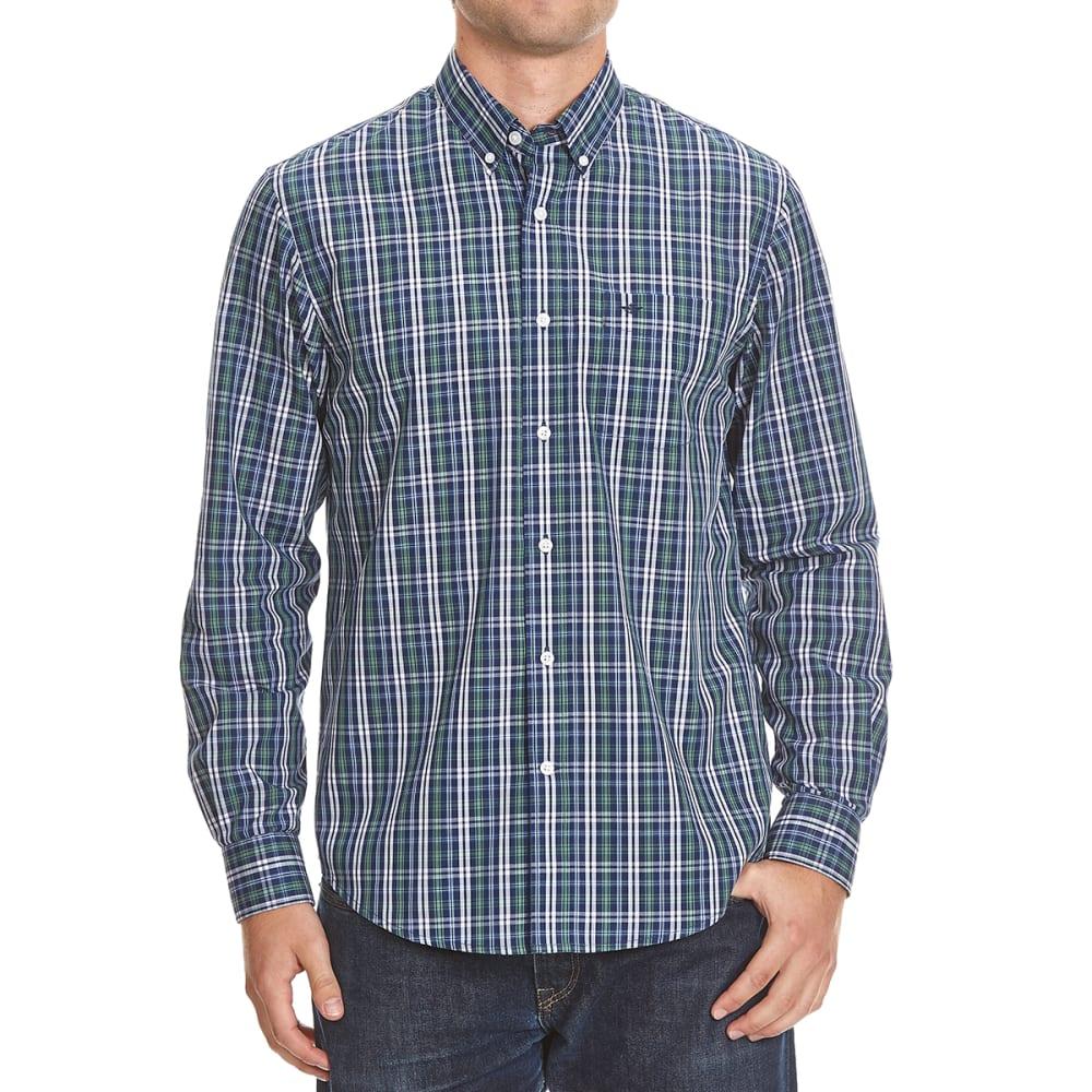 DOCKERS Men's Plaid Woven Button-Down Shirt - 8427-MEDIEVAL BLUE