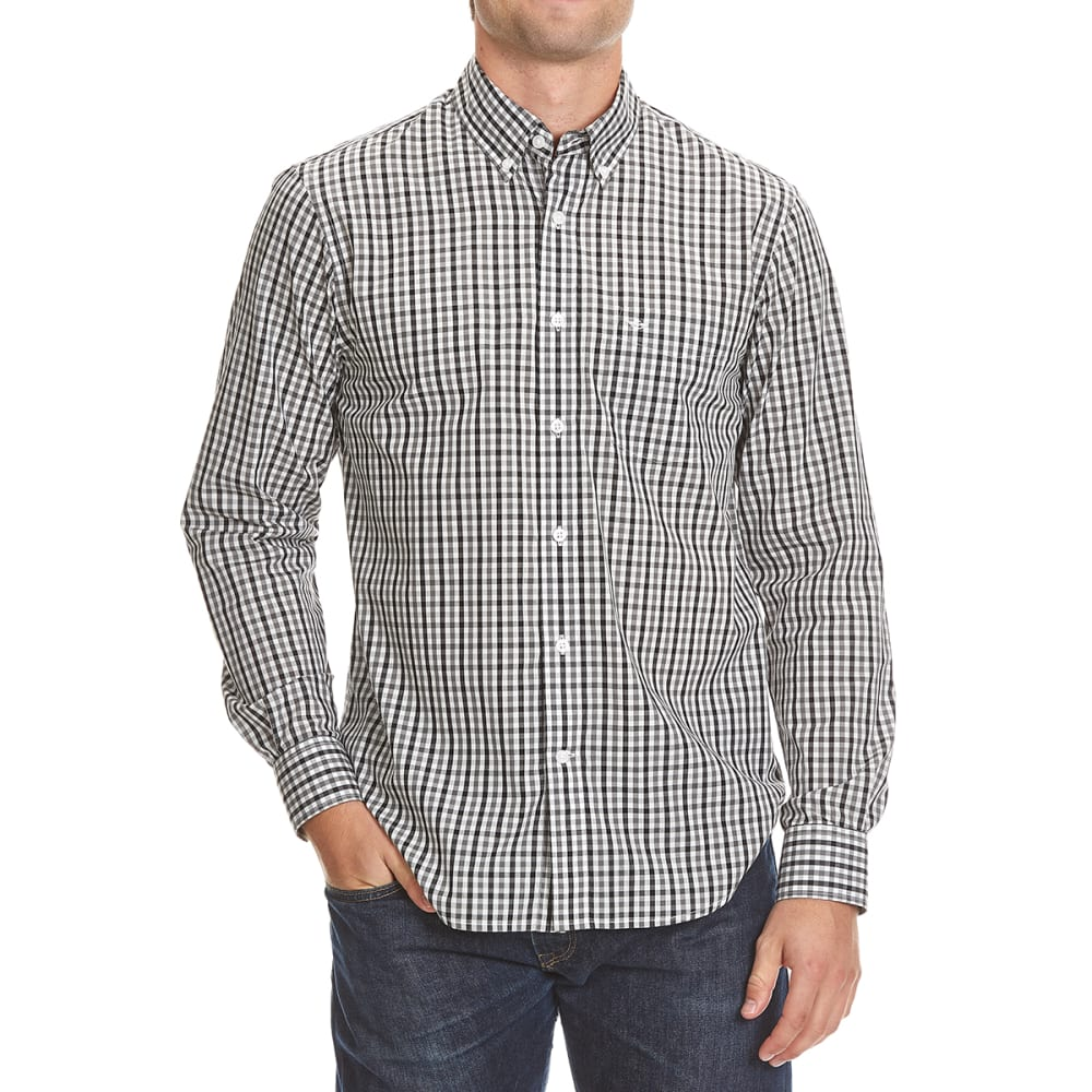 DOCKERS Men's Mini Check Woven Button-Down Shirt - 8007-BURMA GREY
