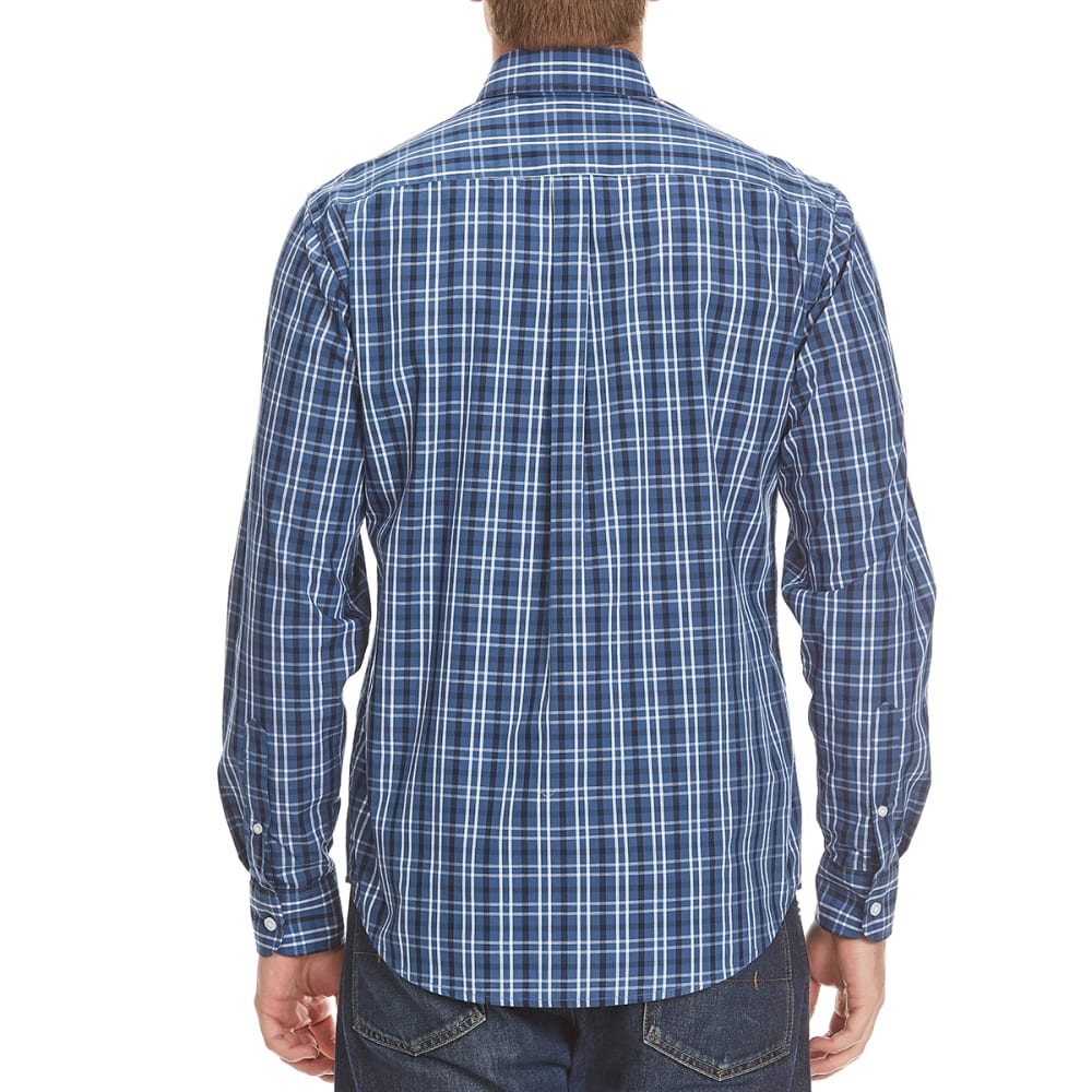 DOCKERS Men's Plaid Woven Button-Down Shirt - 8417-ENSIGN BLUE