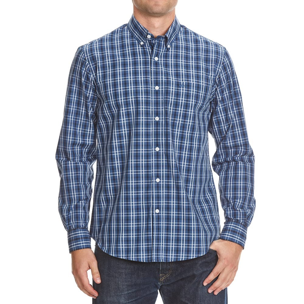 DOCKERS Men's Plaid Woven Button-Down Shirt - 8417-ENSIGN BLUE