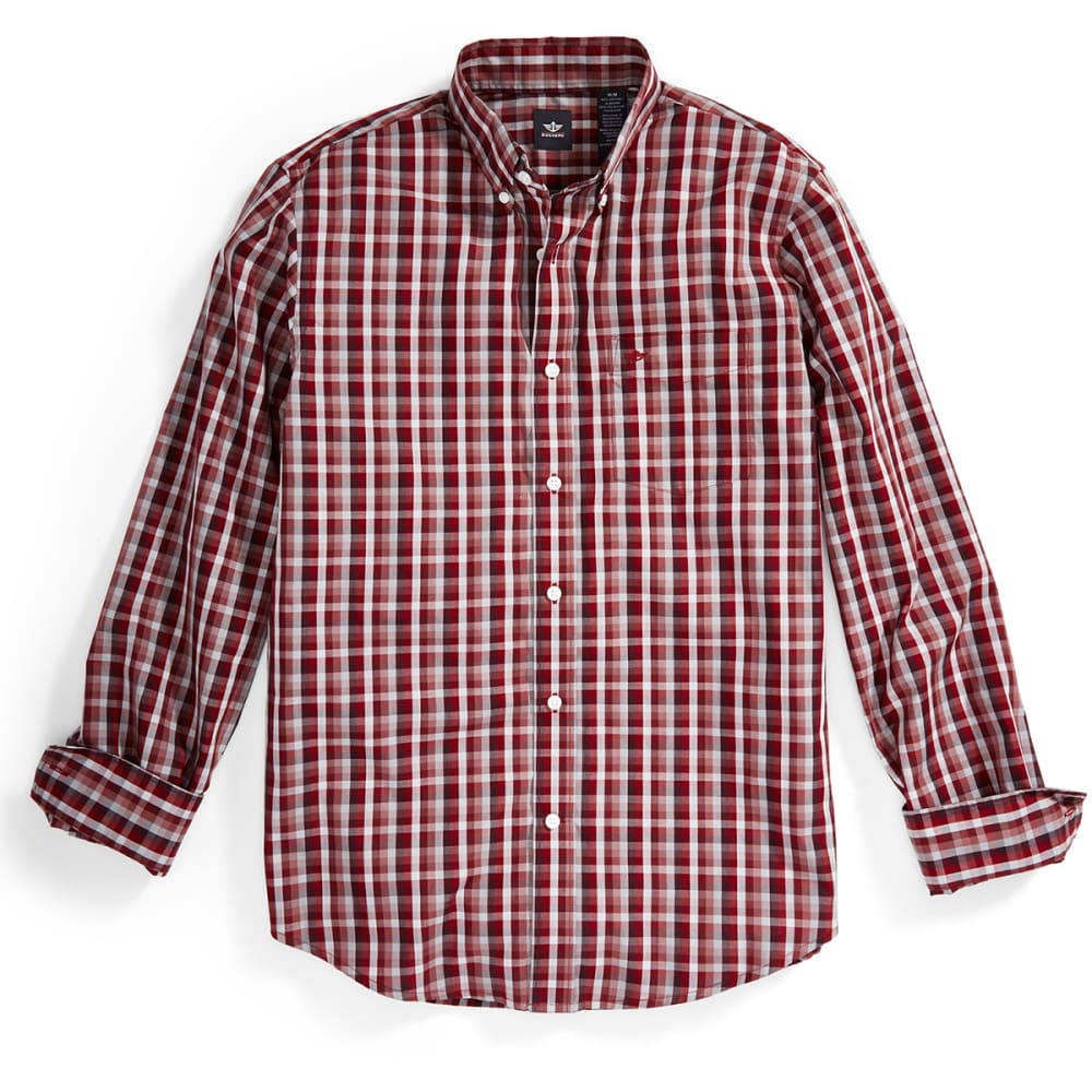 DOCKERS Men's Medium Plaid Woven Button-Down Shirt - 8598-BAYBERRY
