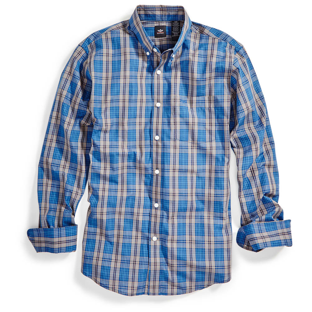 DOCKERS Men's Plaid Woven Button-Down Shirt - 8417-ENSIGN BLU