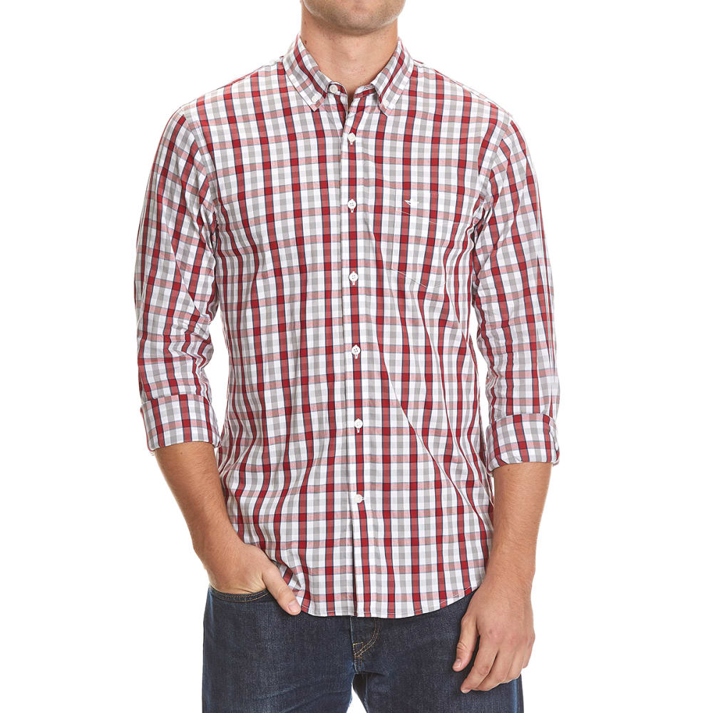 DOCKERS Men's Comfort Box Plaid Woven Shirt - 8619-RIO RED