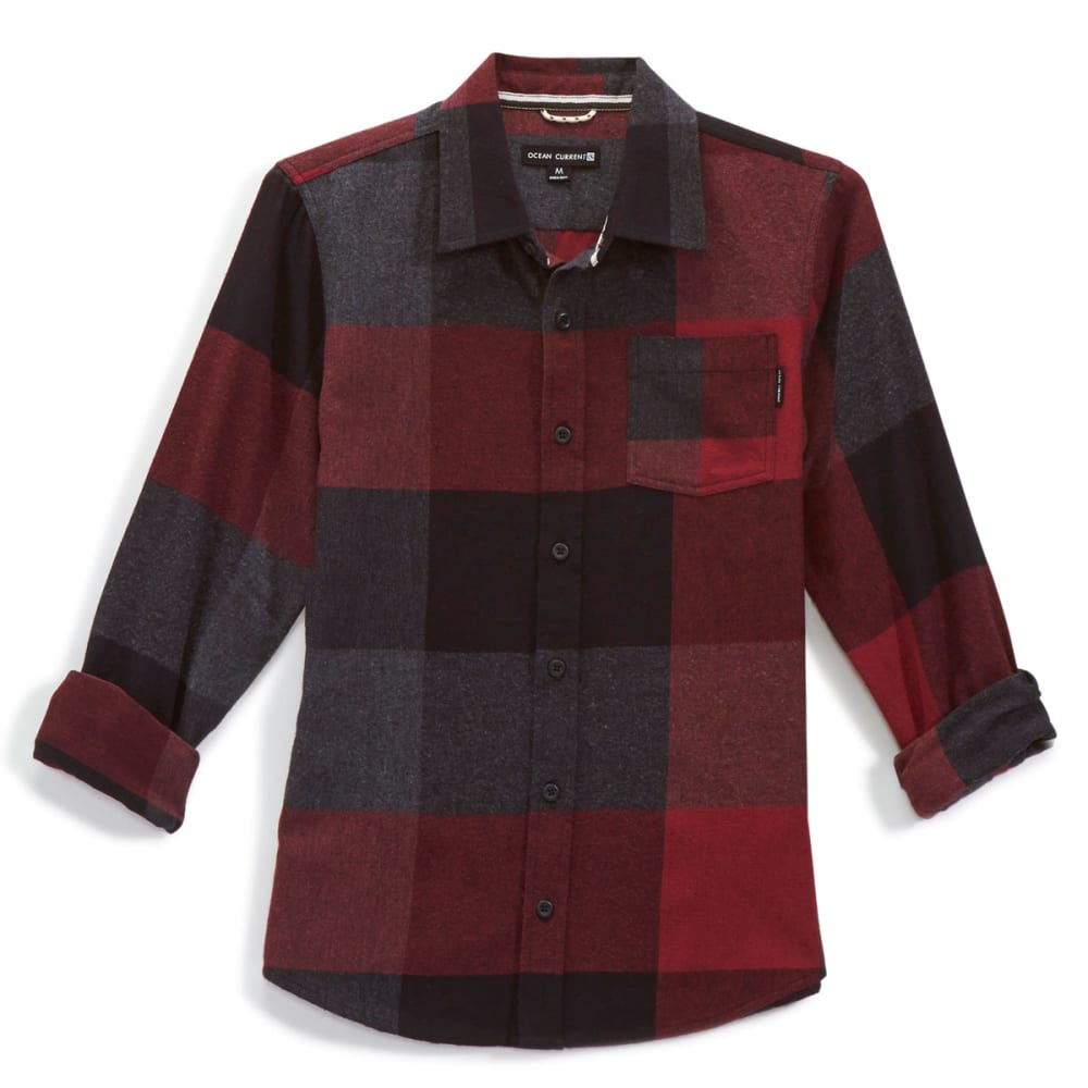 OCEAN CURRENT Boys' Summits Plaid Flannel Shirt - DEEP BURGUNDY