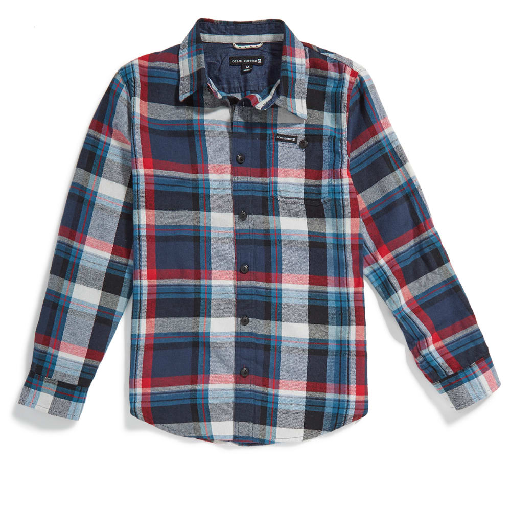 OCEAN CURRENT Boys' Roots Plaid Flannel Shirt - MOROCCAN