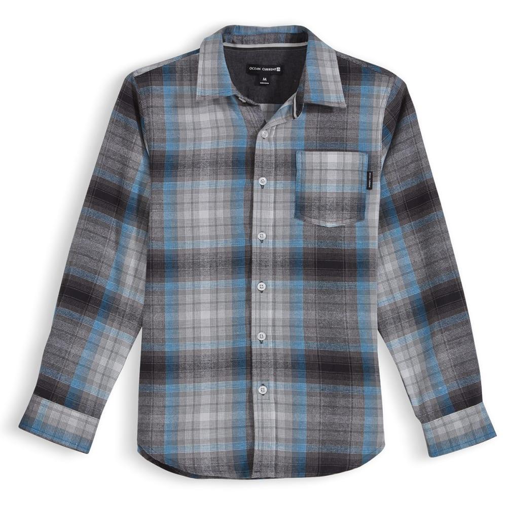 OCEAN CURRENT Boys' Forest Plaid Flannel Shirt - GUNMETAL