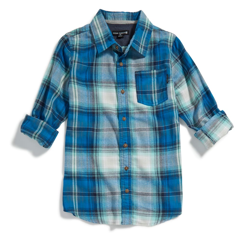 OCEAN CURRENT Boys' Roam Plaid Flannel Shirt - MINT