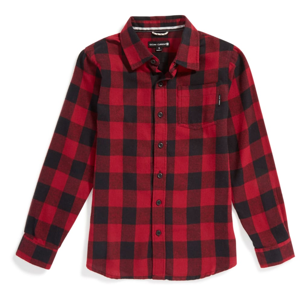 OCEAN CURRENT Boys' Buffalo Plaid Flannel - RED/BLACK