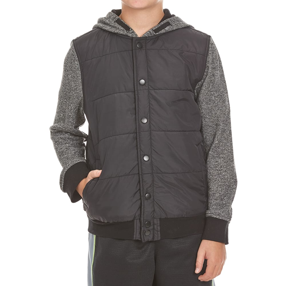 OCEAN CURRENT Boys' Naoki Quilted Windbreaker Fleece - BLACK