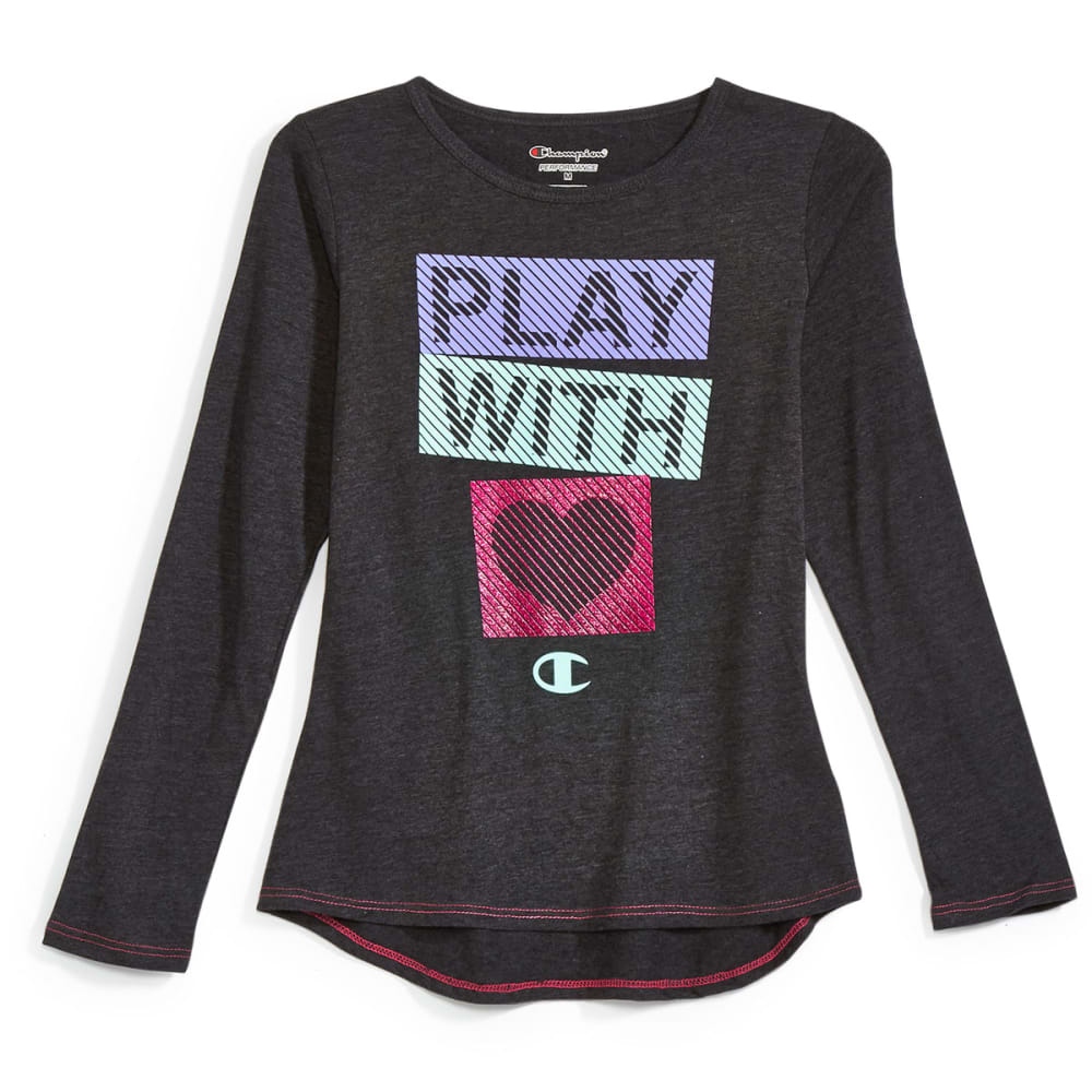 CHAMPION Girls' Try to Keep Up Long-Sleeve Tee - BLACK HEATHER - BLK