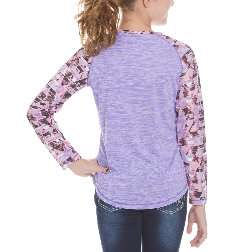 CHAMPION Girls' Printed Long-Sleeve Raglan Tee - PURPLEH - PURP