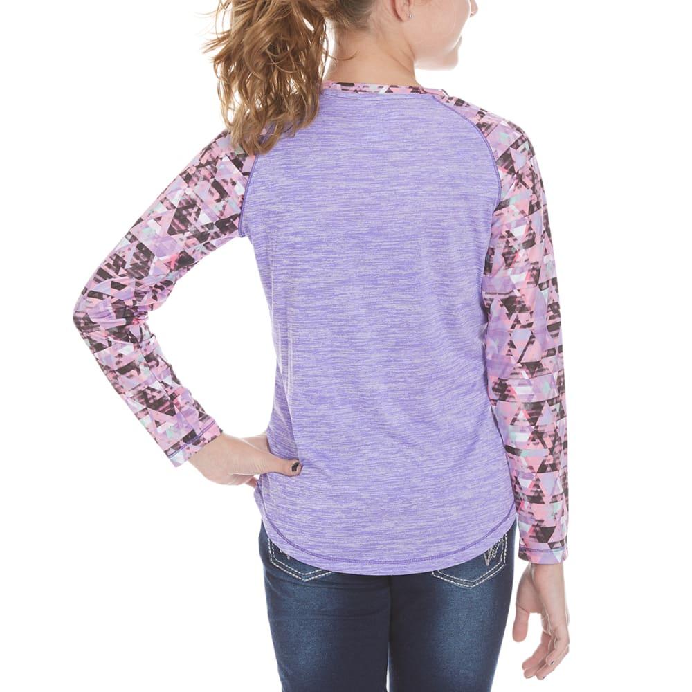 CHAMPION Girls' Printed Long-Sleeve Raglan Tee - PURPLEH - PURP