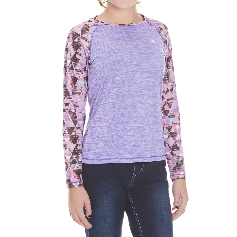 Champion Girls Printed Long-Sleeve Raglan Tee - Purple, S