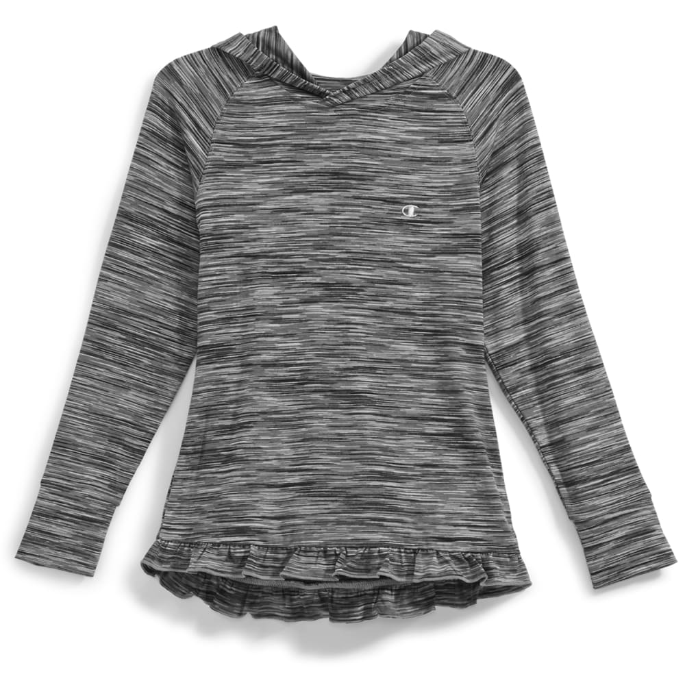 CHAMPION Girls' Shawl Collar Ruffled High-Low Hem Hoodie - BLACK SP DYE - BLK