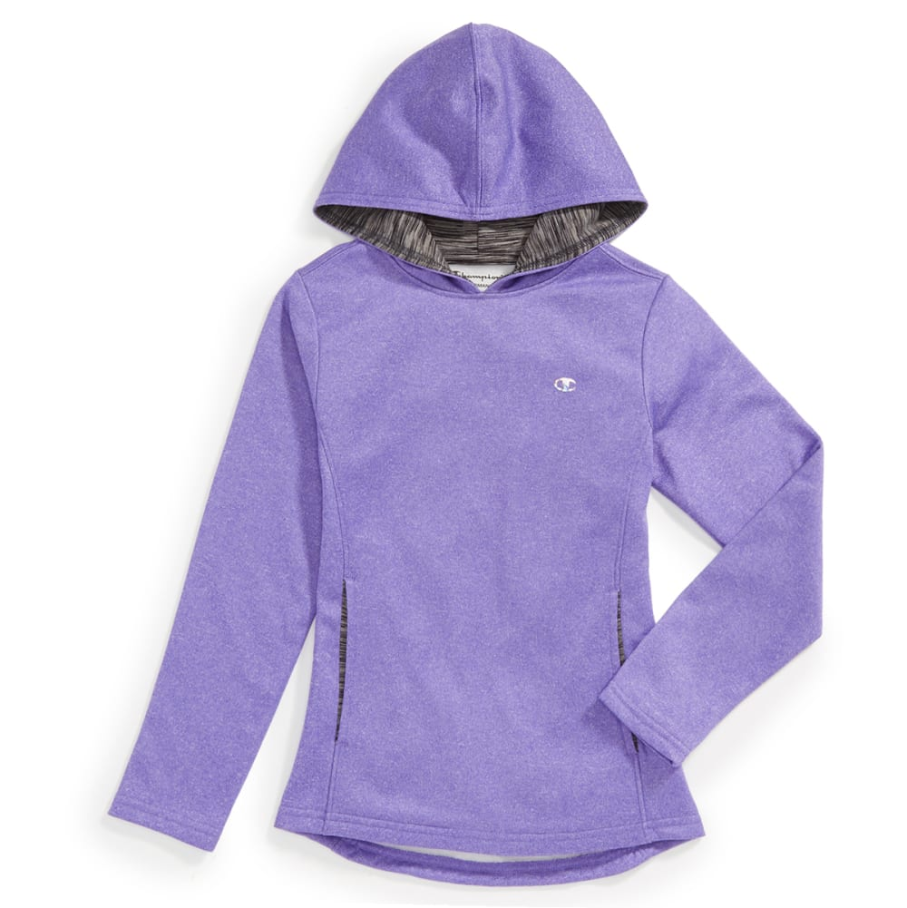 CHAMPION Girls Polyester Fleece Hoodie - PURPLE H HTHR - PURP