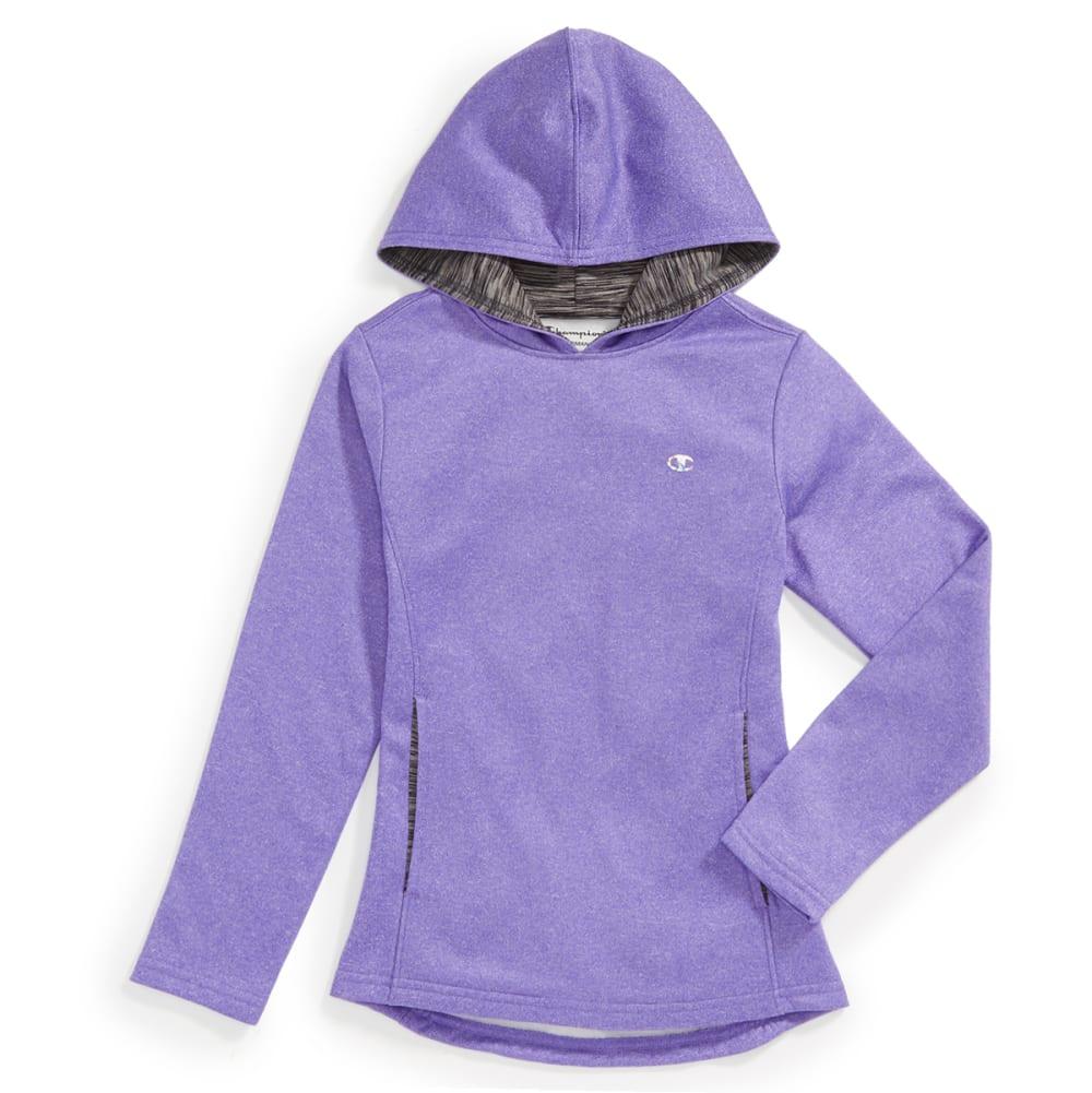 CHAMPION Girls Polyester Fleece Hoodie - PURPLE H HTHR - PURP