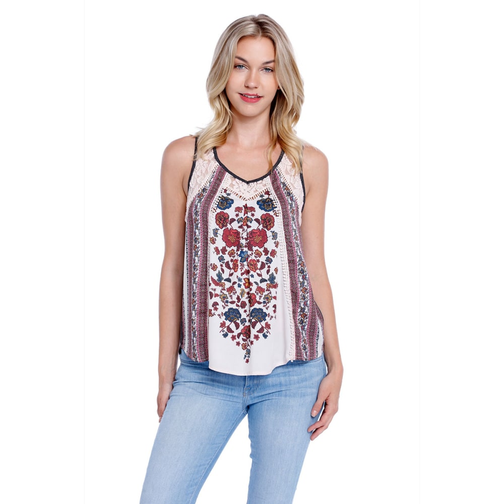 TAYLOR & SAGE Juniors' Lace Inset Placement Print Tank - HTR CHARCOAL
